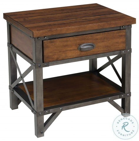 Holverson Rustic Brown And Gunmetal Nightstand