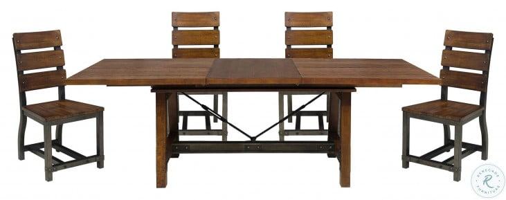 Holverson Rustic Brown And Gunmetal Extendable Dining Table