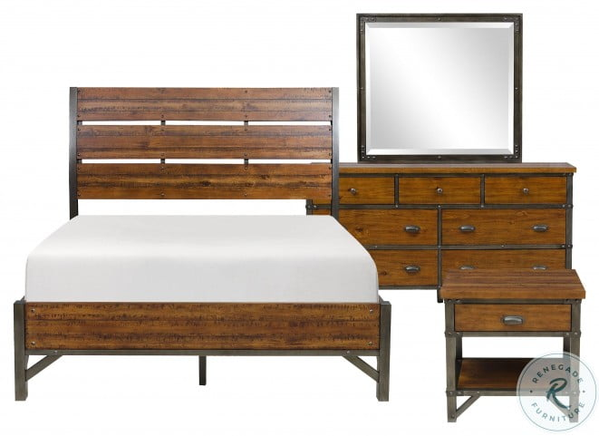 Holverson Rustic Brown And Gunmetal Cal. King Sleigh Bed