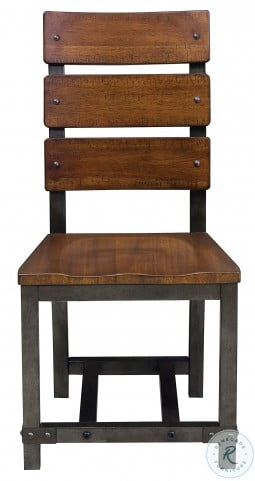 Holverson Rustic Brown And Gunmetal Side Chair Set of 2