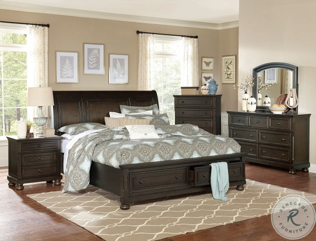 Begonia Gray King Sleigh Storage Bed