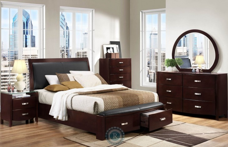 Lyric Espresso Sleigh Storage Bedroom Set