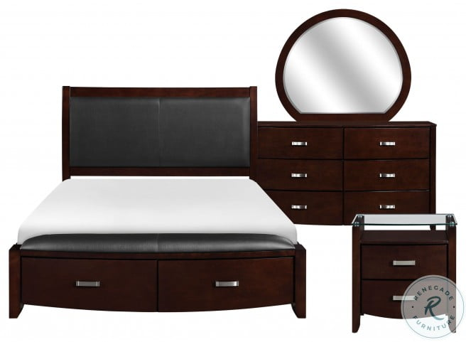 Lyric Dark Cherry Queen Upholstered Storage Sleigh Bed