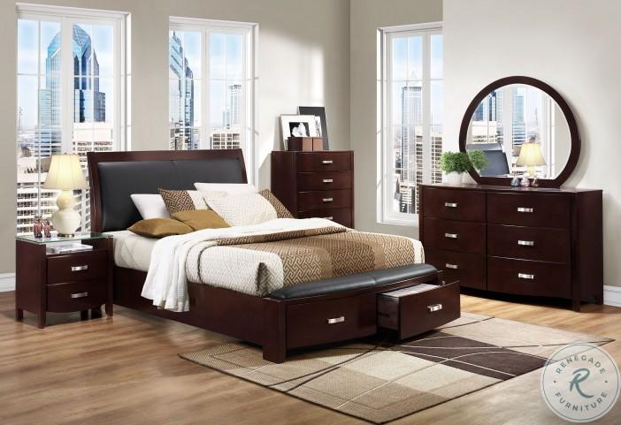 Lyric Dark Cherry Upholstered Storage Sleigh Bedroom Set
