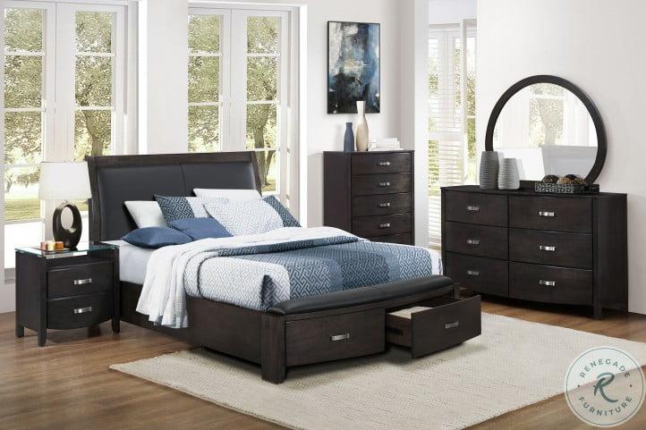 Lyric Brownish Grey Upholstered Storage Sleigh Bedroom Set