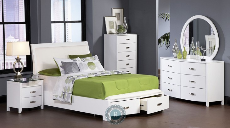 Lyric White Sleigh Storage Bedroom Set