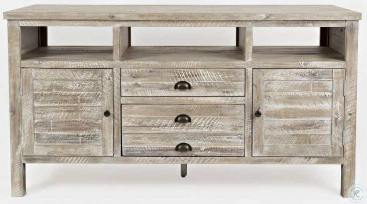 "Artisans Craft 60"" Washed Gray Media Console"