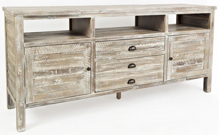 """Artisans Craft 70"""" Washed Gray Media Console"""