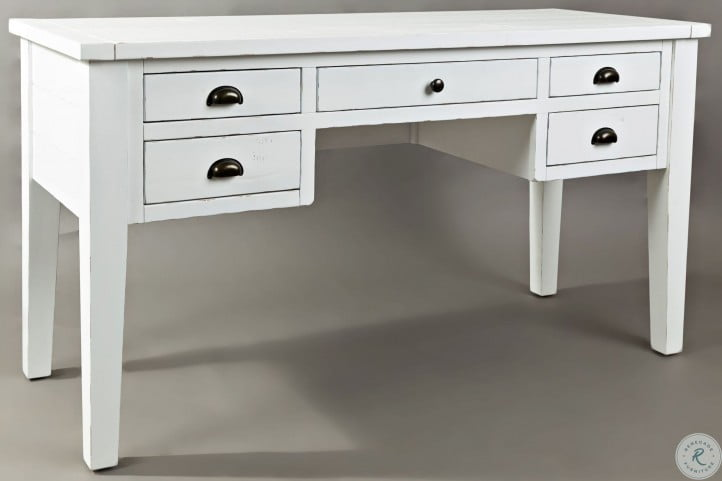 Artisans Craft Weathered White 5 Drawer Desk