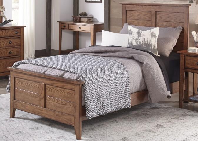 Grandpa's Cabin Aged Oak Twin Panel Bed