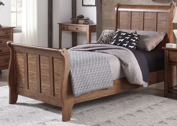 Grandpa's Cabin Aged Oak Youth Sleigh Bedroom Set