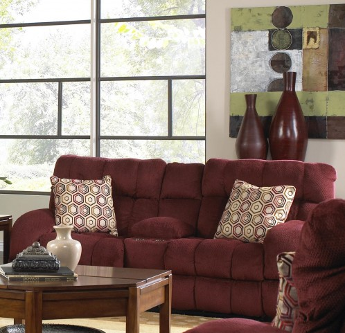 Siesta Wine Power Reclining Loveseat with Console