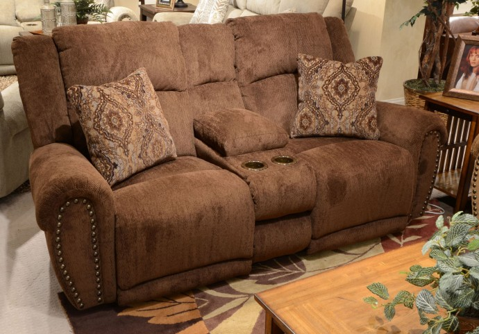 Stafford Caramel Reclining Loveseat with Console