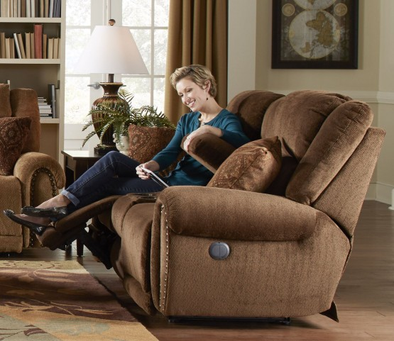 Stafford Tobacco Power Reclining Loveseat with Console
