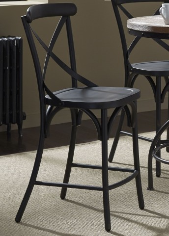 Vintage Black X Back Counter Chair Set of 2