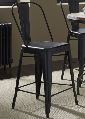 Vintage Black Bow Back Counter Chair Set of 2