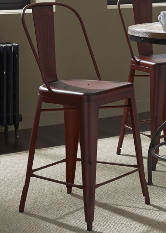 Vintage Red Bow Back Counter Chair Set of 2