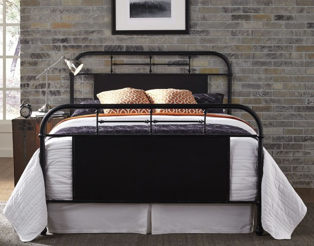 Vintage Distressed Black Queen Metal Bed