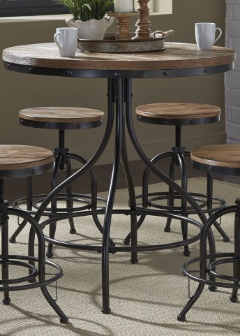 Vintage Weathered Gray Pub Table