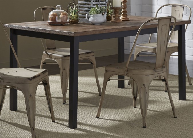 Vintage Weathered Gray Rectangular Leg Dining Room Set