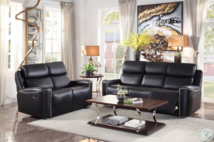Altair Black Leather Gel Match Double Reclining Living Room Set