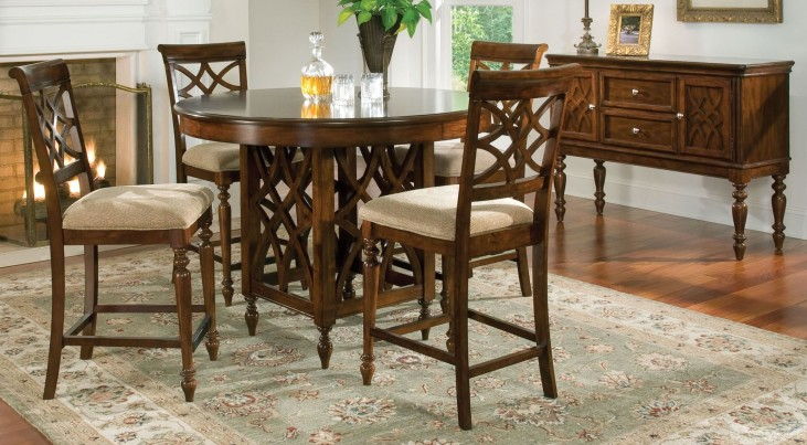 Woodmont Brown Cherry Round Counter Height Dining Room Set