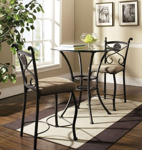Brookfield Glass Round Counter Height Dining Room Set