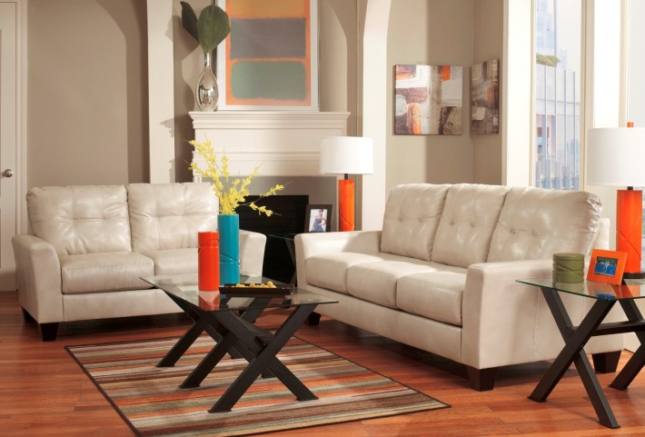 Paulie DuraBlend Taupe Living Room Set