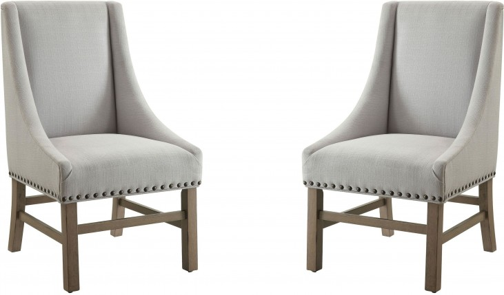 Florence Light Grey Fabric Side Chair by Donny Osmond Set of 2