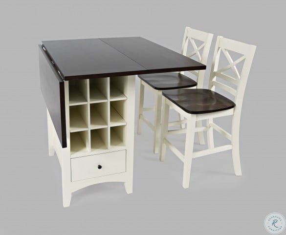 Asbury Park Autumn Brown And White Storage Extendable Counter Height Dining Table