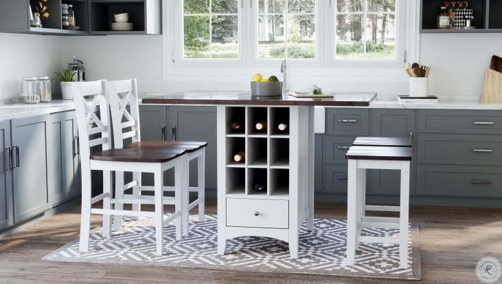 Asbury Park Autumn Brown And White Storage Extendable Counter Height Dining Room Set