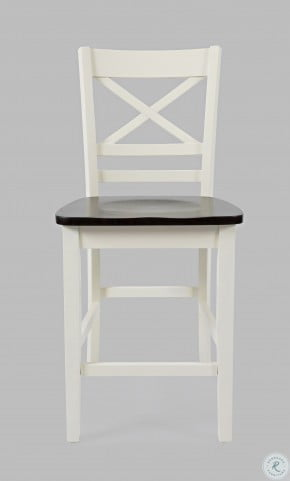 Asbury Park Autumn Brown And White X Back Counter Height Stool Set Of 2