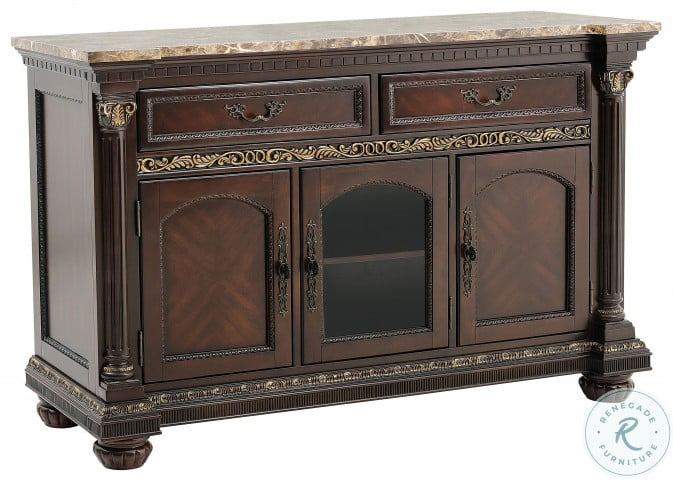 Russian Hill Cherry Faux Marble Top Server