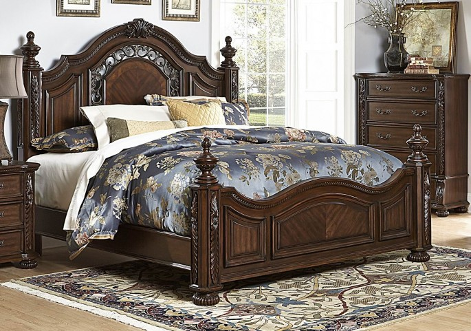 Augustine Court Brown Cherry Queen Poster Bed