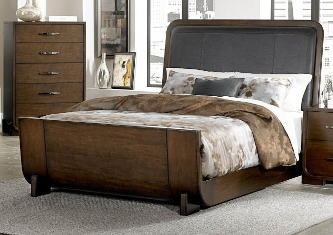 Minato Brown Cherry Vinyl Queen Sleigh Bed