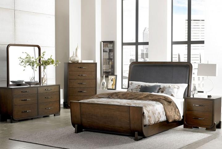 Minato Brown Cherry Vinyl Sleigh Bedroom Set