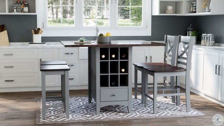 Asbury Park Autumn Brown And Grey Storage Extendable Counter Height Dining Room Set
