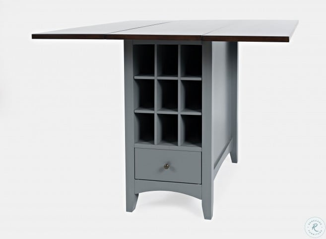 Asbury Park Autumn Brown And Grey Storage Extendable Counter Height Dining Table
