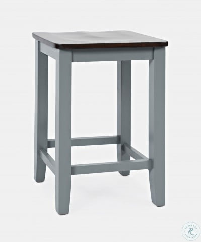 Asbury Park Autumn Brown And Grey Backless Saddle Counter Height Stool Set Of 2