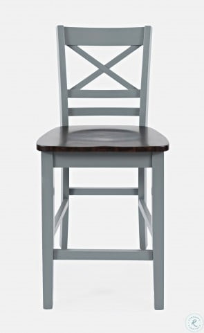Asbury Park Autumn Brown And Grey X Back Counter Height Stool Set Of 2