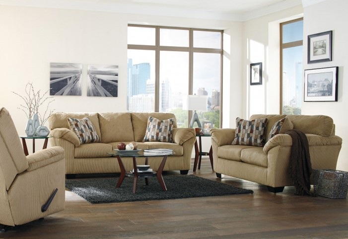 Aluria Mocha Living Room Set