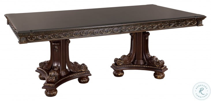 Catalonia Dark Cherry Double Pedestal Extendable Dining Table