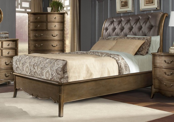 Chambord Champagne Gold Queen Sleigh Bed