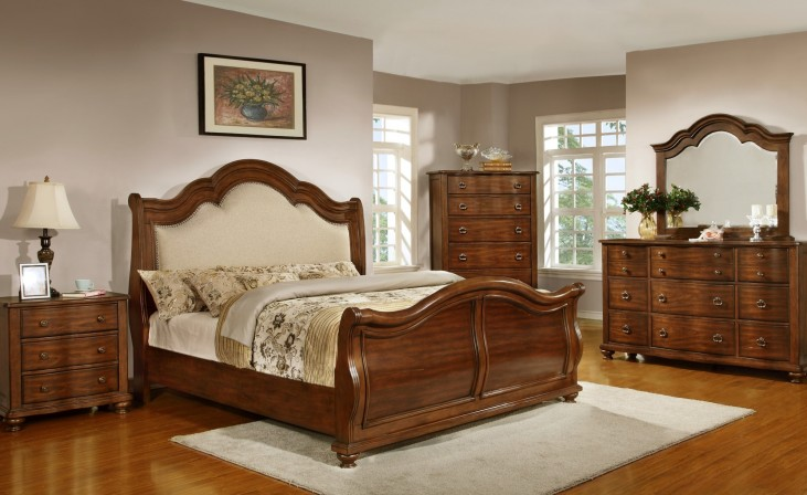 Davina Brown Cherry Sleigh Bedroom Set