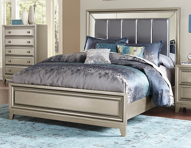 Hedy Silver Vinyl King Panel Bed
