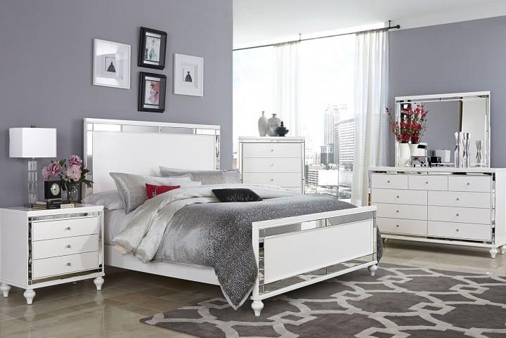 Alonza Bright White Panel Bedroom Set