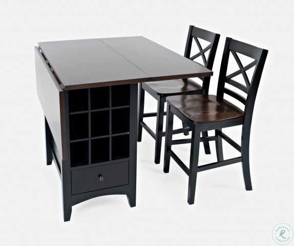 Asbury Park Autumn Brown And Black Extendable Storage Counter Height Dining Table