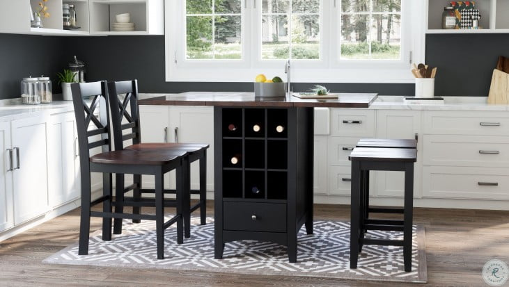 Asbury Park Autumn Brown And Black Extendable Storage Counter Height Dining Room Set From Jofran Coleman Furniture