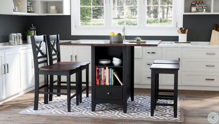 Asbury Park Autumn Brown And Black Extendable Storage Counter Height Dining Room Set