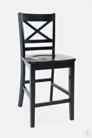 Asbury Park Autumn Brown And Black X Back Counter Height Stool Set Of 2